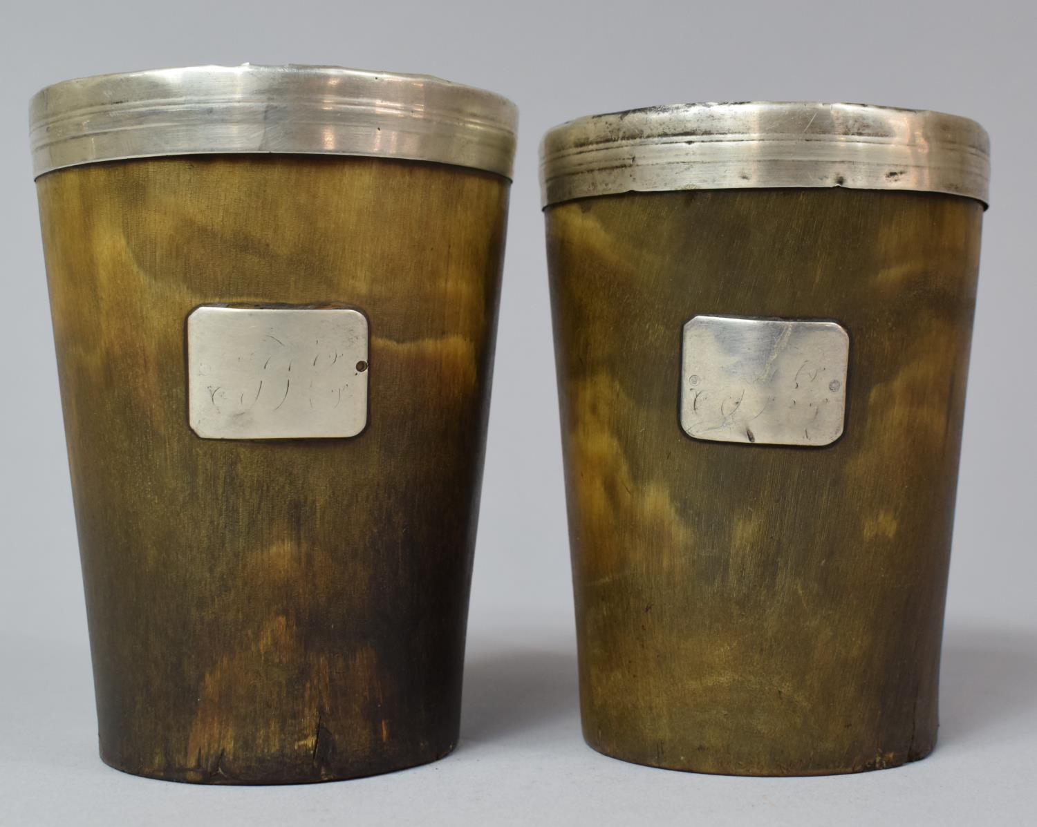 A Pair of 19th Century Silver Rimmed Scottish Horn Beakers with Original Tinned Copper Liners and