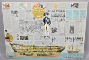 """A Large Mounted Poster, """"Nelson and HMS Victory at Trafalgar 1805"""", 97x74cm"""