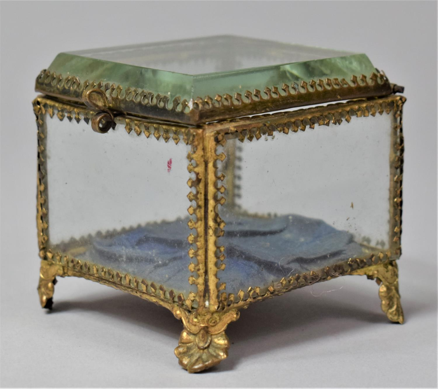 A Late 19th Century French Ormolu Framed Glass Jewellery Box on Four Scrolled Feet, 6.5cm Square