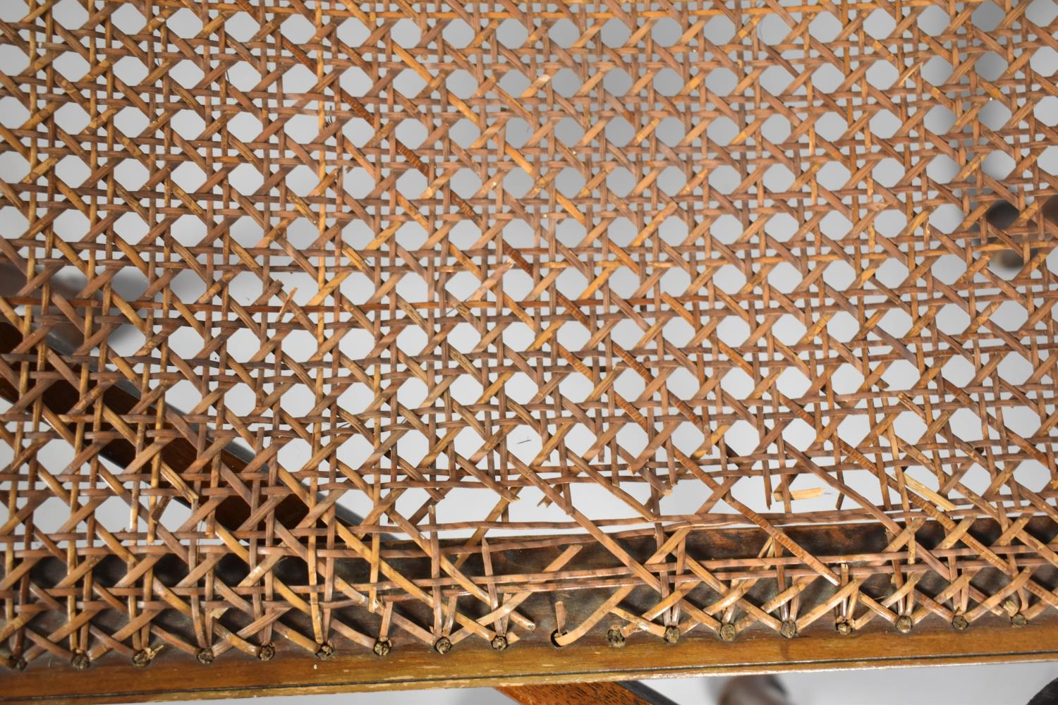 A Mid 20th Century Walnut Framed Rectangular Stool on Cabriole Supports, Requires Recaning, 56cm - Image 4 of 4