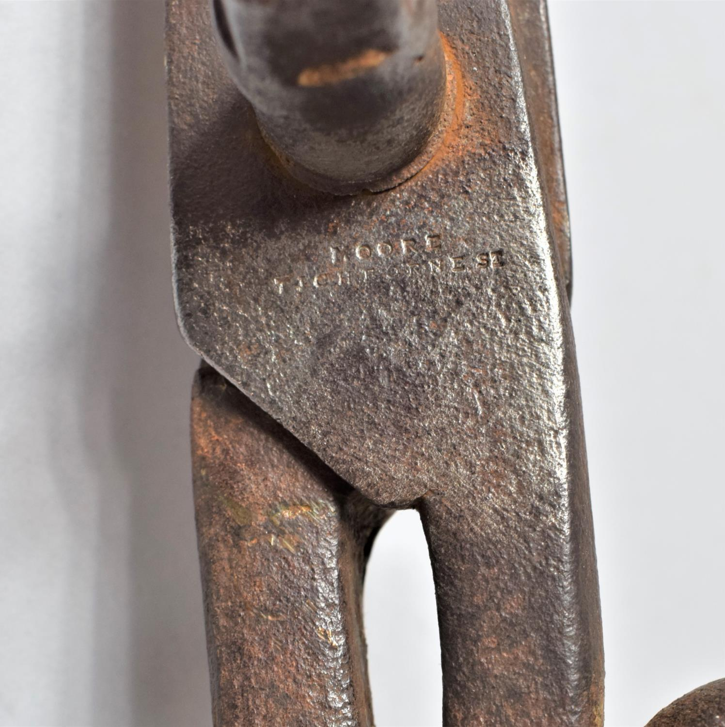 A Large Pair of Victorian Cast Iron Industrial Scissors by Moore, Tichborne St, 36.5cm Long - Image 2 of 5