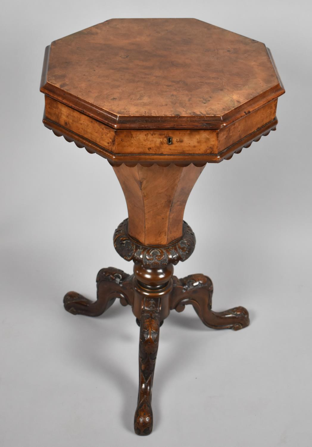 A Victorian Burr Walnut Octagonal Topped Ladies Work Box of Trumpet Form, Hinged Lid to Fitted Inner - Image 2 of 4