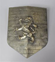 A Modern Pressed Metal Wall Hanging Ornament Shield Decorated with the Scottish Lion Rampant, 33cm