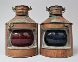 A Pair of Brass Mounted Copper Quadrant Ships Lamps for Port and Starboard, 22cm high