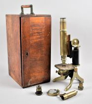 A Vintage Mahogany Cased Brass Microscope