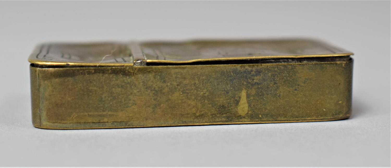 A Georgian Rectangular Brass Two Division Box, Possibly for Snuff, One Side Containing Lock of Hair, - Image 6 of 6