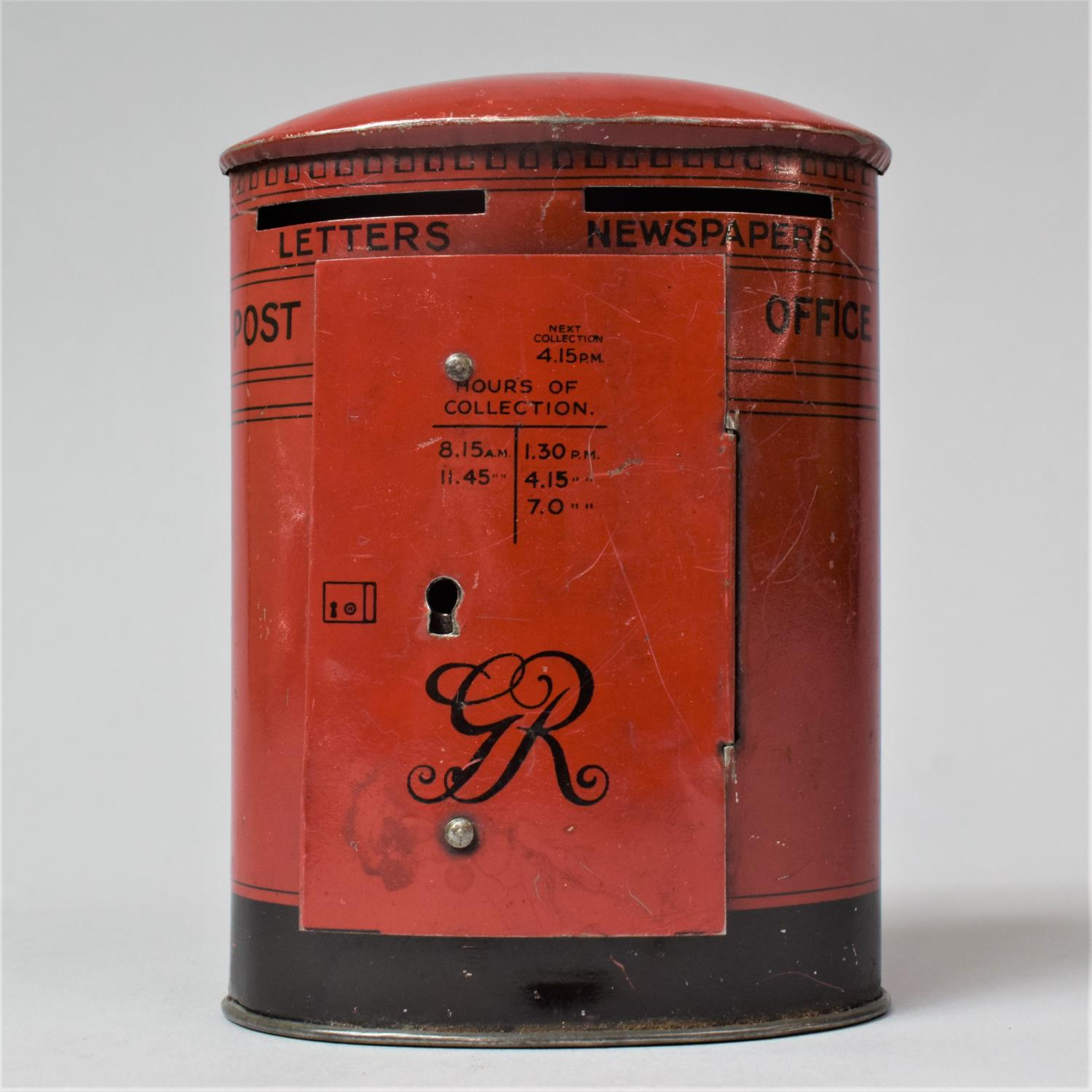 A Chad Valley Tinplate Money Box in the Form of a Post Box Inscribed with Alphabet and Dick - Image 2 of 2