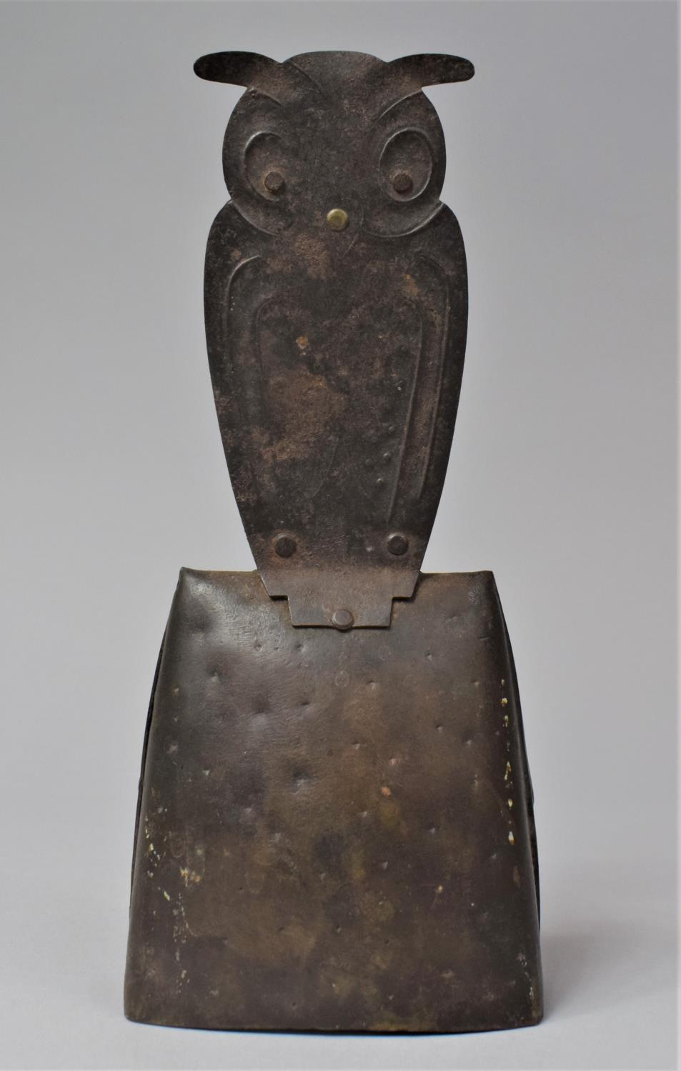 A German Arts and Crafts Handbell, the Handle in the Form of a Long Eared Owl, In Mixed Metal, - Image 4 of 6