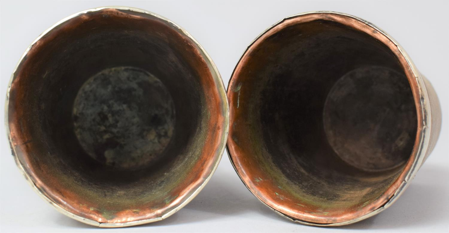 A Pair of 19th Century Silver Rimmed Scottish Horn Beakers with Original Tinned Copper Liners and - Image 5 of 5