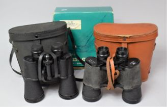 A Pair of Regent 16x50 Prismatic Binoculars Together with a Leather Cased Pair of Regent 10x50