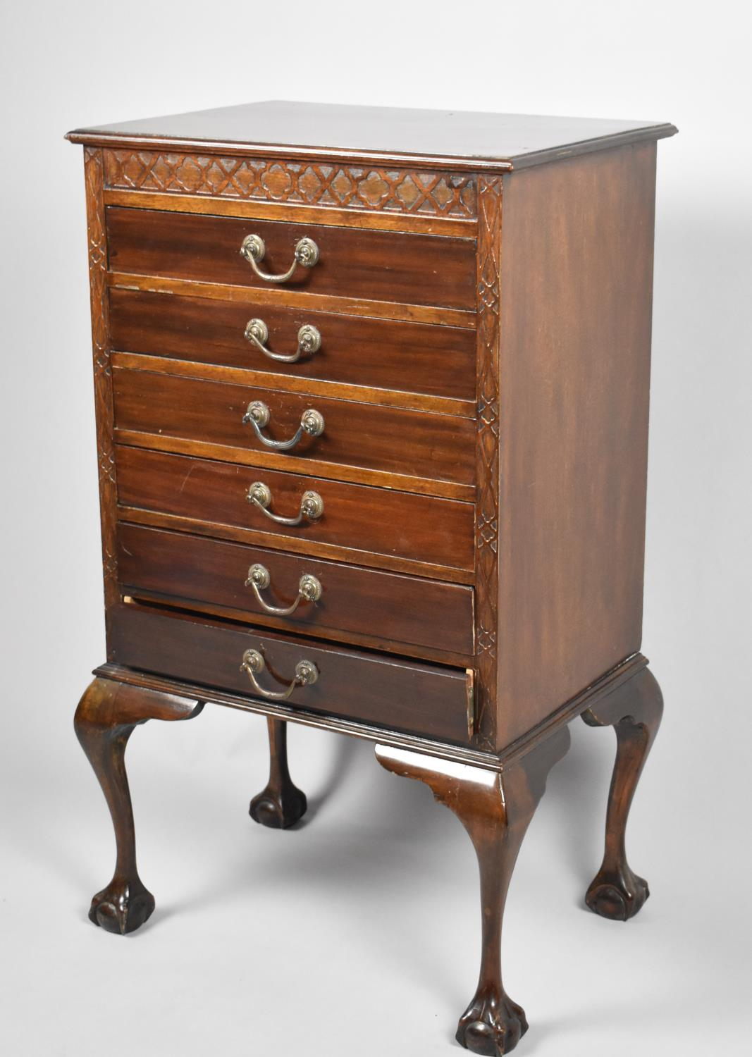 An Edwardian Mahogany Six Drawer Music Chest on Short Cabriole Supports with Claw and Ball Feet, - Image 2 of 2