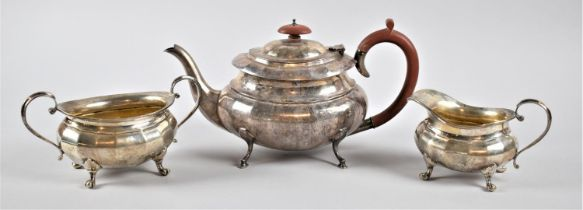 A Hallmarked Silver Tea Service, Birmingham 1981, Light Compression to Single Claw Foot on Jug and