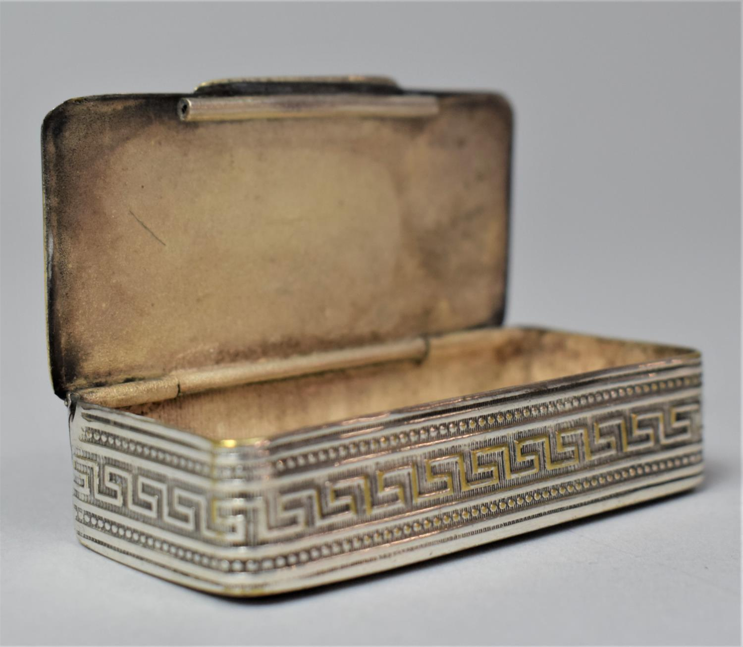 A French Silver Plated and Mixed Metal Rectangular Snuff, the Hinged Lid Decorated in Relief with - Image 6 of 7