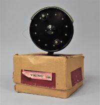 "A Vintage Allcocks Viking 4 1/2"" Centre Pin Fishing Reel In Original Cardboard Box, Box AF"