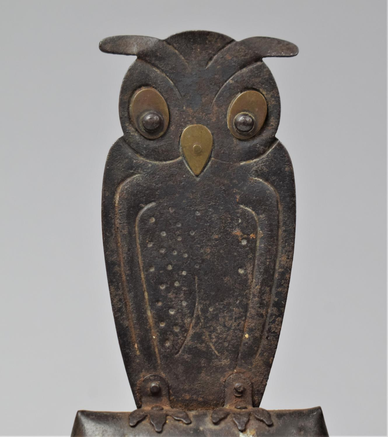 A German Arts and Crafts Handbell, the Handle in the Form of a Long Eared Owl, In Mixed Metal, - Image 2 of 6