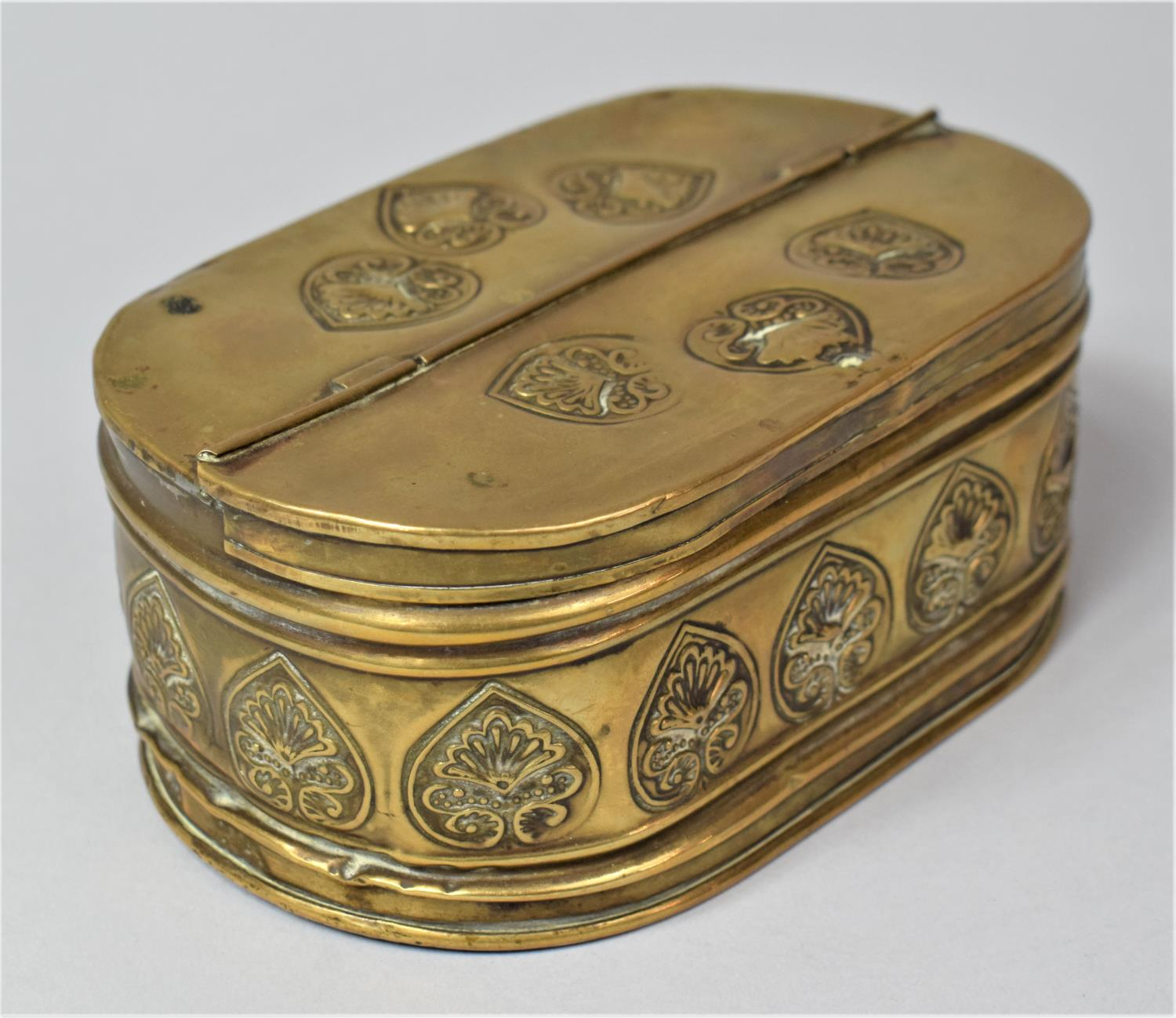 A 19th Century Dutch Brass Oval Two Division Tobacco Box with Hinged Lid, 15.5cm Long - Image 2 of 5