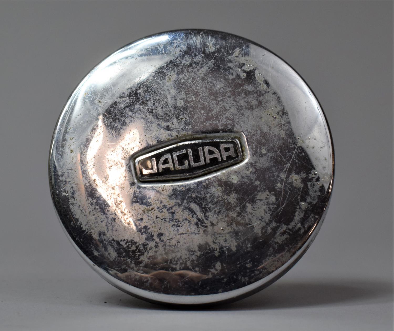 A Vintage Jaguar Chromed Circular Cap Containing 1970 Licence Disk for Private Jaguar 485 NRE, 7.5cm - Image 2 of 4