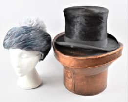 A Late 19th Century Leather Top Hat Box Containing Distressed Silk Top Hat and Together with Vintage