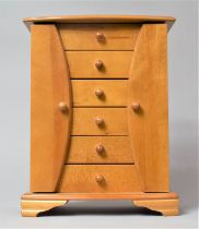 A Modern Six Drawer Jewellery Box, with Two Side Necklace Hanging Compartments, 35cm high
