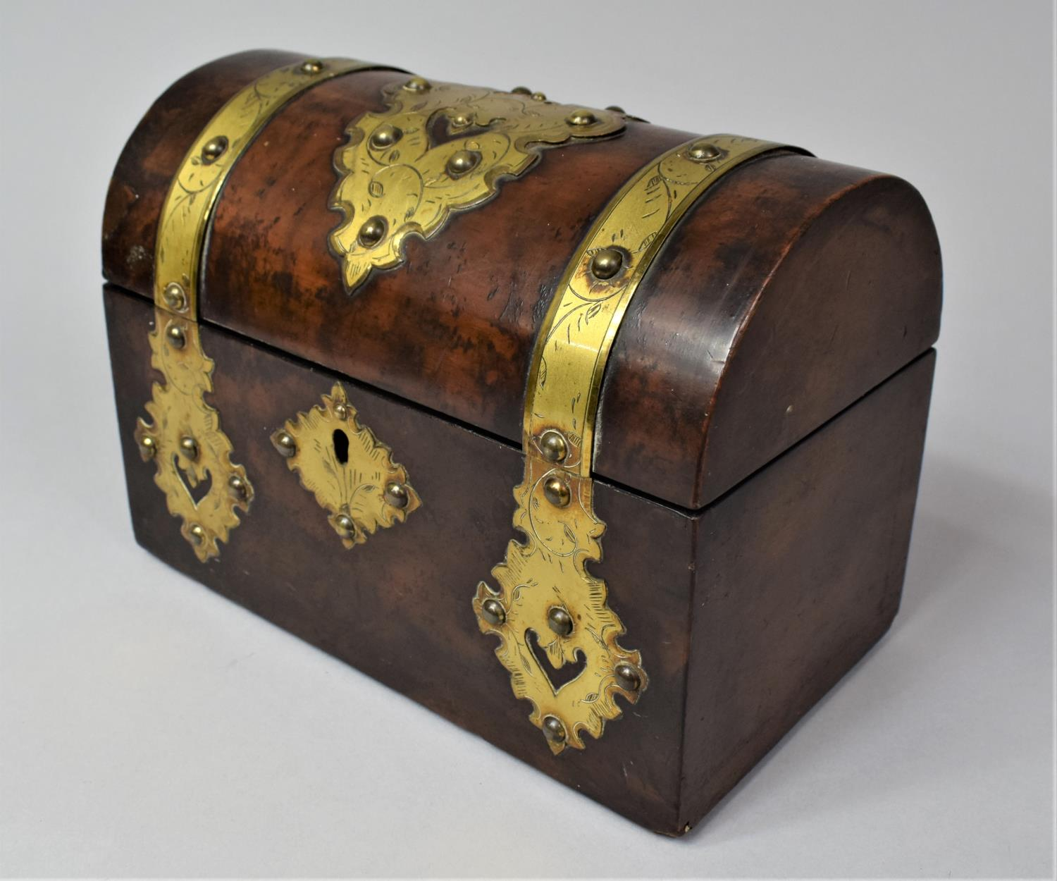 A Victorian Brass Mounted Burr Walnut, Dome Topped Casket with Hinged Lid, 20cm Wide - Image 3 of 5
