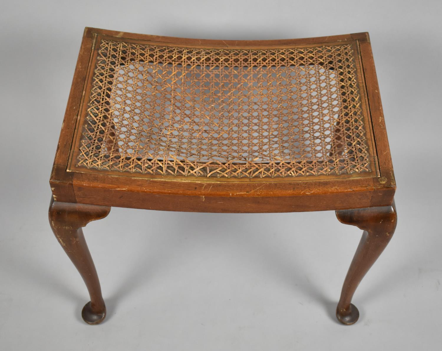 A Mid 20th Century Walnut Framed Rectangular Stool on Cabriole Supports, Requires Recaning, 56cm - Image 2 of 4