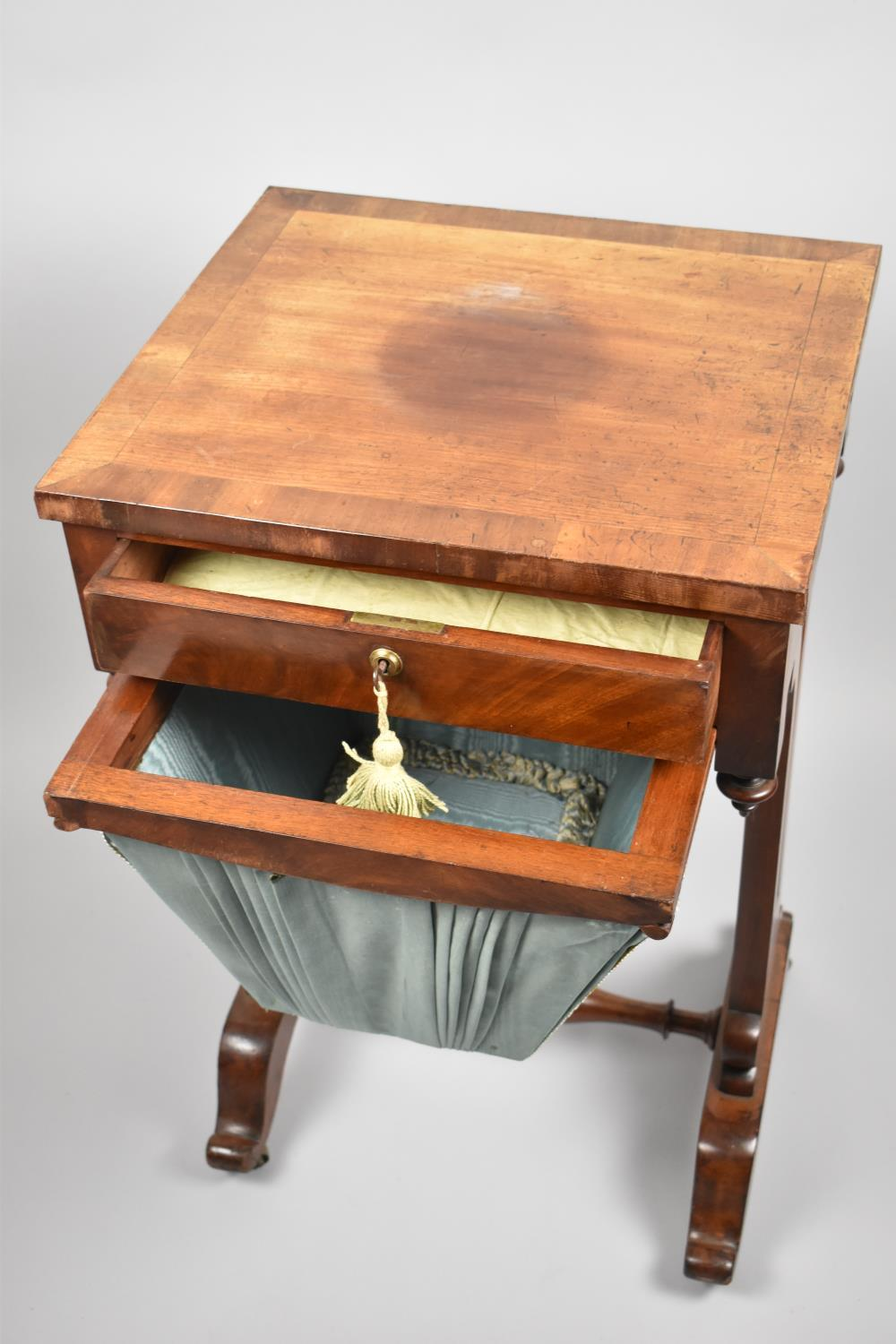 A Regency Mahogany Work Table with Single Top Drawer Over Wool Slide, Pierced Supports and Turned - Image 2 of 3