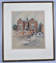 A Framed Adrian Hill Print of a College Building, 31x26cm