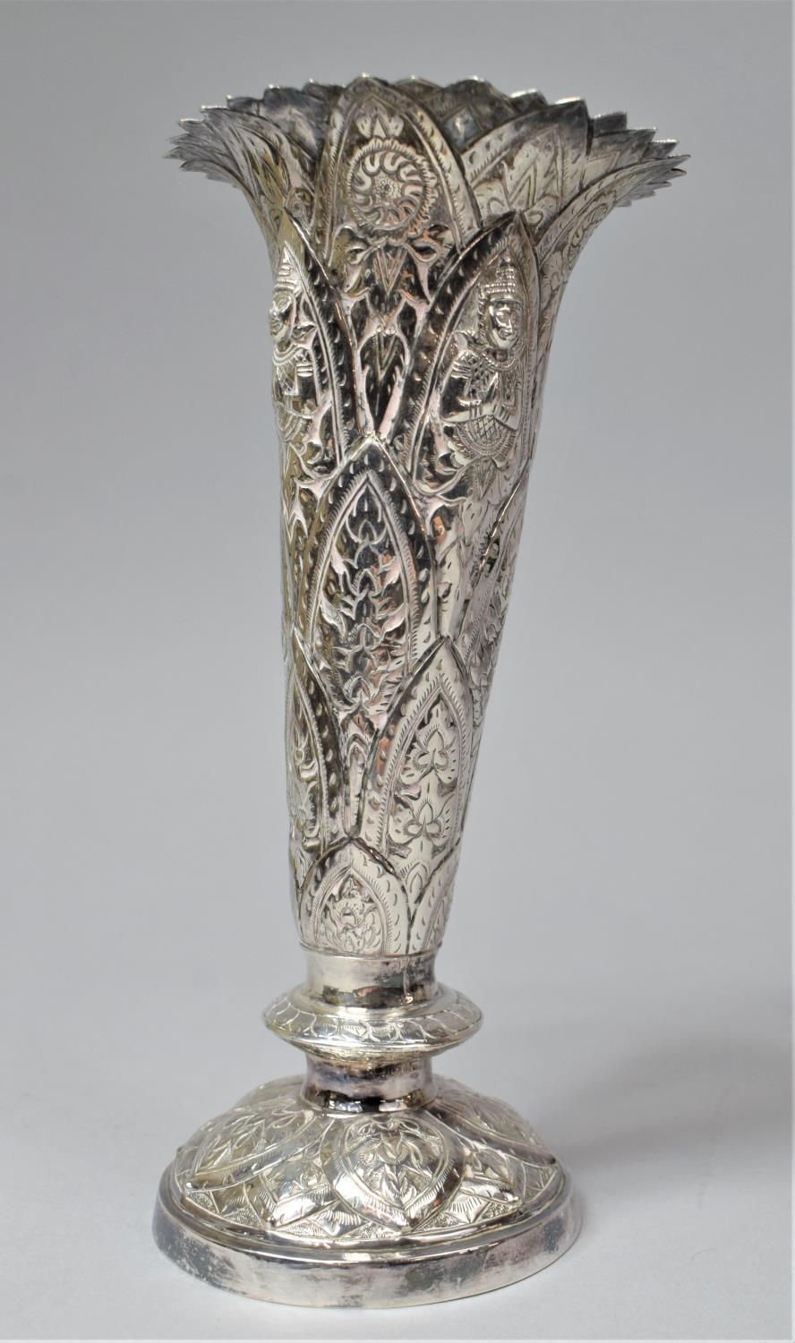 A Set of Three Indian Silver Trumpet Vases with Hand Hammered Repousse work, Depicting Namaste - Image 7 of 13