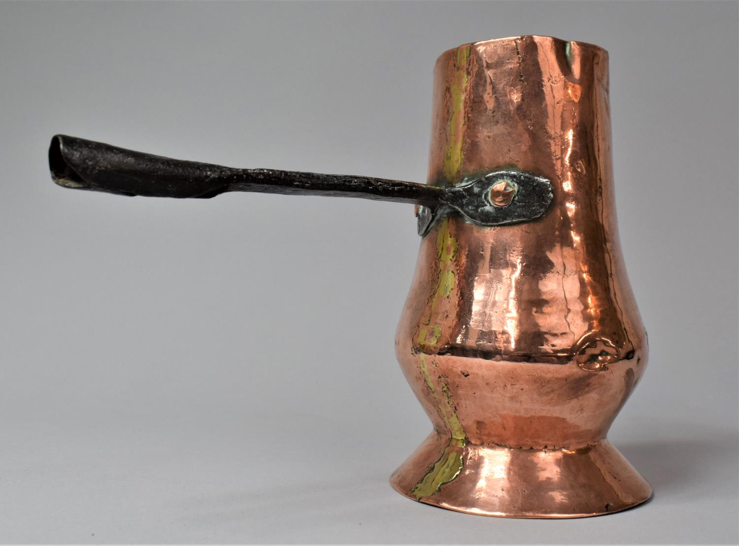 An Early Iron handled Copper Side Pouring Jug, 18cm high - Image 2 of 6