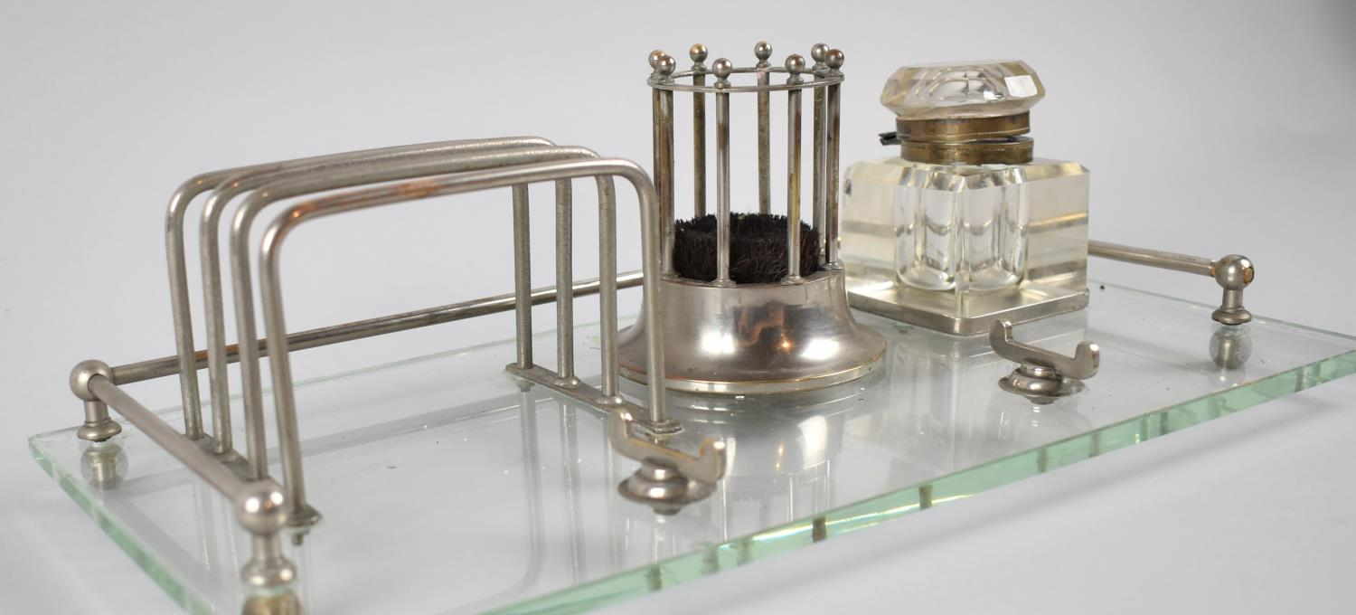 A French Art Deco Rectangular Desk Tidy, Including Pen Rest, Letter Rack, Inkwell, Circular Stand, - Image 2 of 2