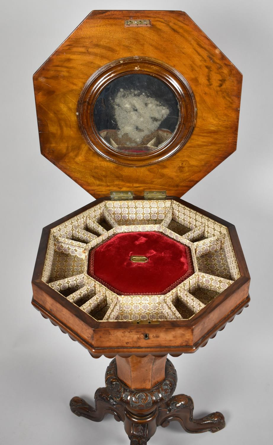 A Victorian Burr Walnut Octagonal Topped Ladies Work Box of Trumpet Form, Hinged Lid to Fitted Inner - Image 3 of 4