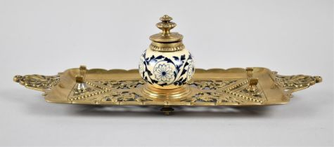 A Late 19th Century French Pierced Brass Desktop Inkstand, in the Form of a Two Handled Tray with
