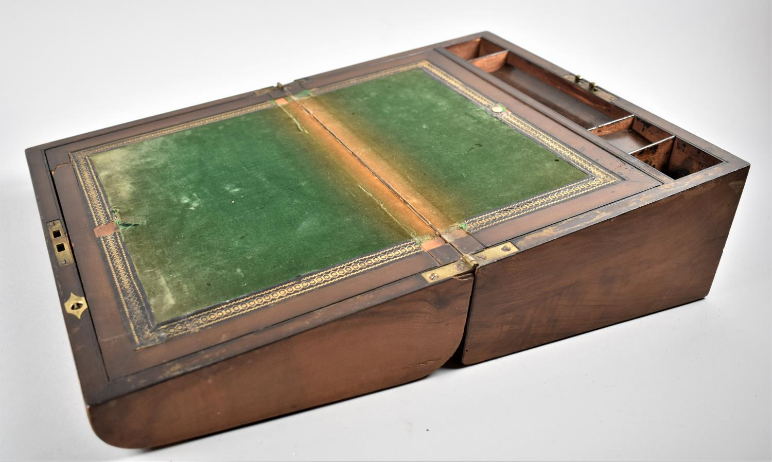 A Late 19th Century Burr Walnut Writing Slope with Tunbridge Style Banding Inlay and Brass - Image 4 of 5