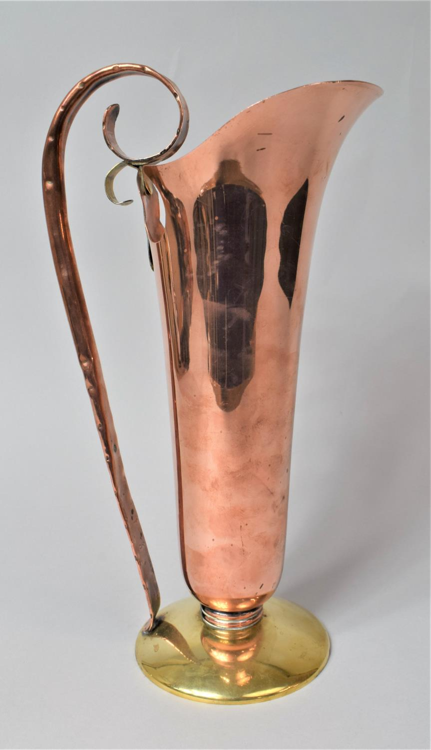 An Arts and Crafts Style Copper and Brass Ewer, 37cm high - Image 3 of 3