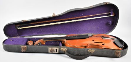 """A Vintage Piena Student Violin with Bow and Hard Case, Paper Label Printed """"Model ... Antonius"""