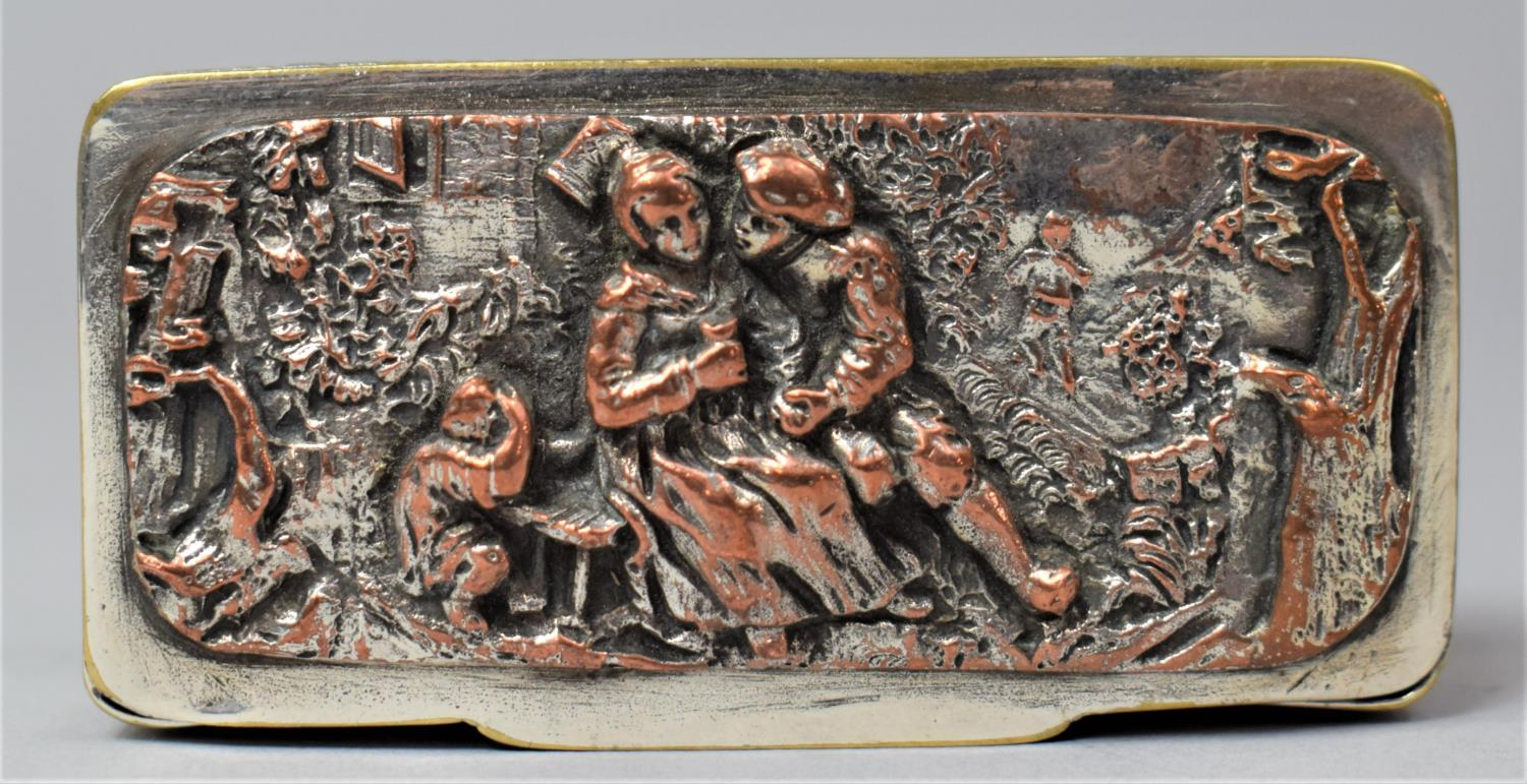 A French Silver Plated and Mixed Metal Rectangular Snuff, the Hinged Lid Decorated in Relief with - Image 3 of 7