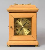A Modern Brass Mounted Carriage Clock with Battery Movement, 26cm high