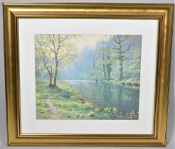 A Gilt Framed Print of Fisherman in River After James D Preston, 48x40cm