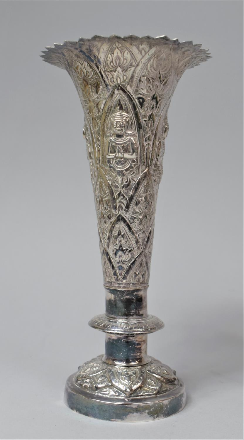 A Set of Three Indian Silver Trumpet Vases with Hand Hammered Repousse work, Depicting Namaste - Image 10 of 13