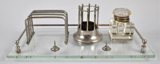 A French Art Deco Rectangular Desk Tidy, Including Pen Rest, Letter Rack, Inkwell, Circular Stand,