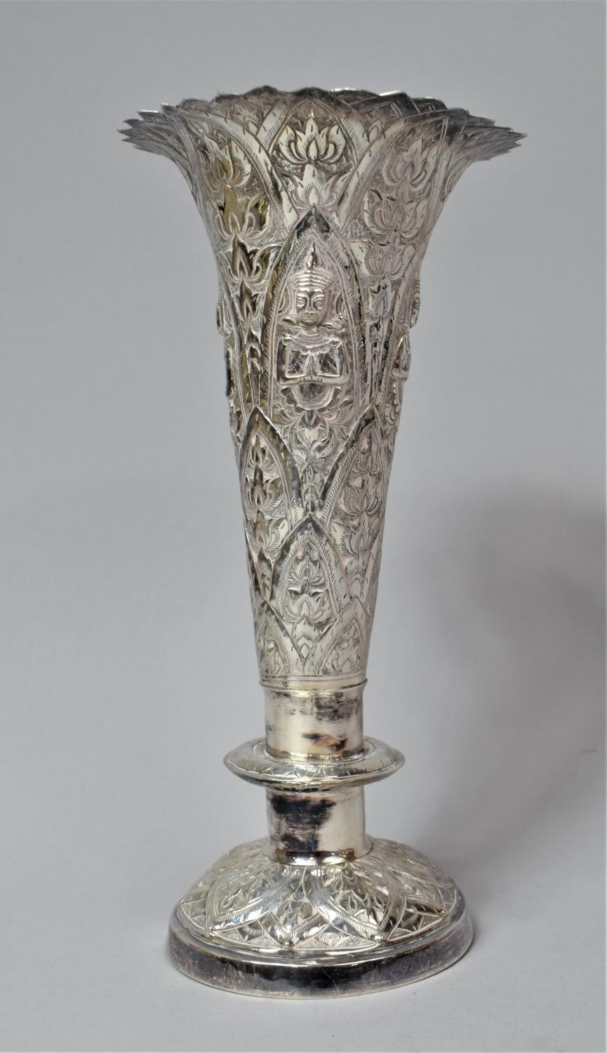 A Set of Three Indian Silver Trumpet Vases with Hand Hammered Repousse work, Depicting Namaste - Image 2 of 13