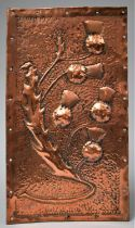 A Hand Hammered Embossed Arts and Crafts Rectangular Panel Decorated with Thistles, Possibly Glasgow