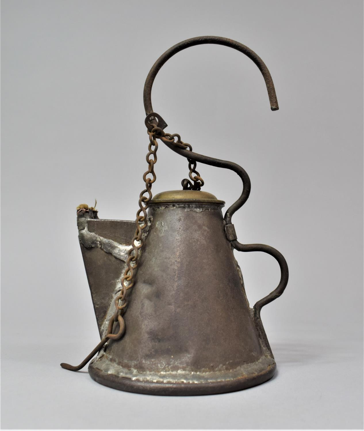 A Late 19th Century Scottish Miner's Coal Face Tallow Lamp of Teapot Form with Screw Off Lid, 21cm - Image 6 of 7