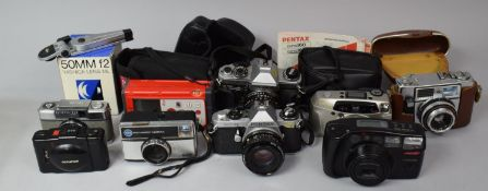 A Collection of Various Vintage Cameras, Yashica Lens and Other Sundries