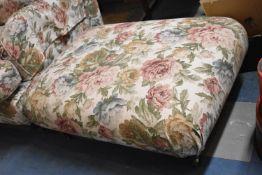 A Floral Patterned Upholstered Rectangular Footstool, 90cm wide