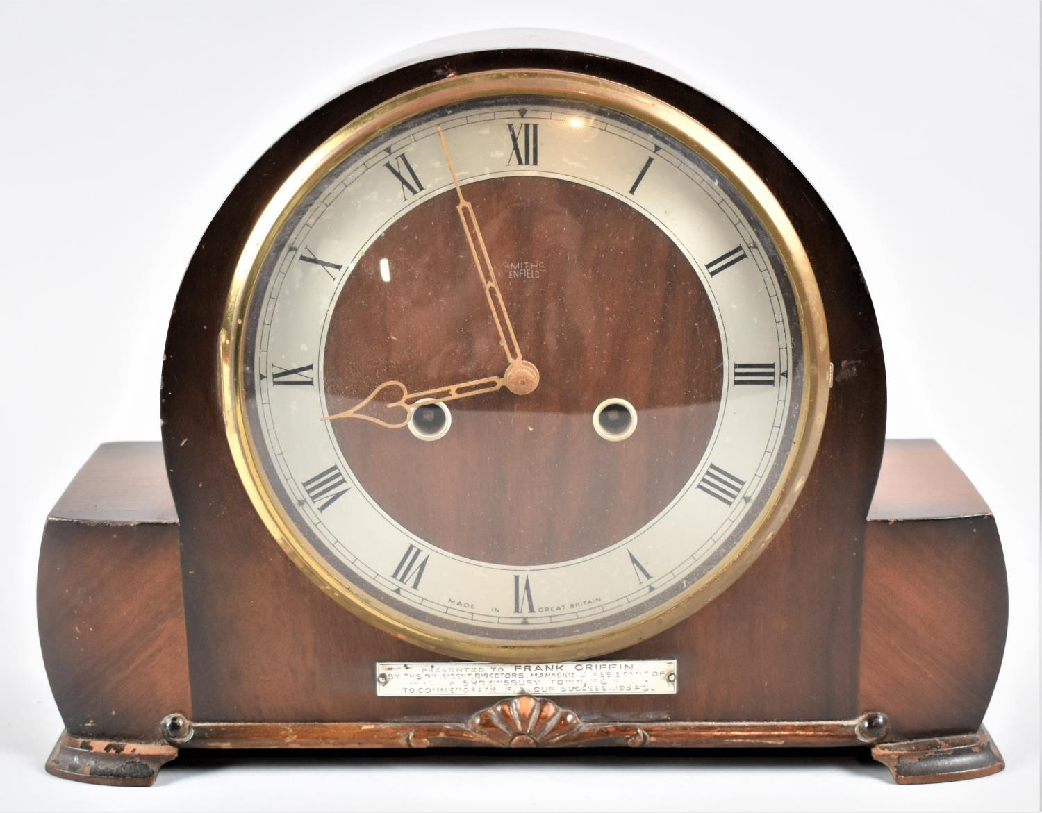 """A Mid 20th Century Walnut Cased Presentation Mantle Clock, Having Sterling Silver Mount Inscribed """""""