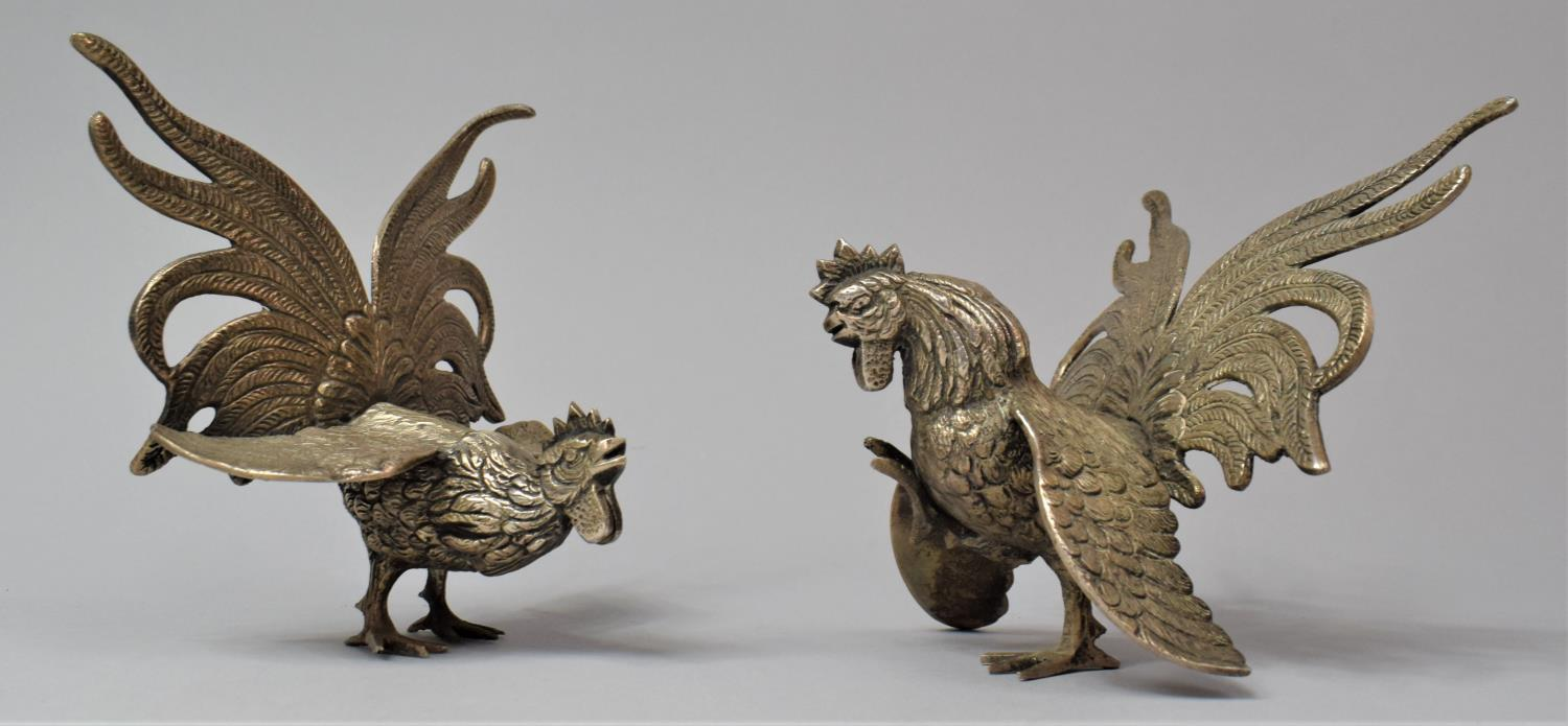A Pair of Silver Plated Fighting Cock Ornaments, 12.5cm high - Image 2 of 2