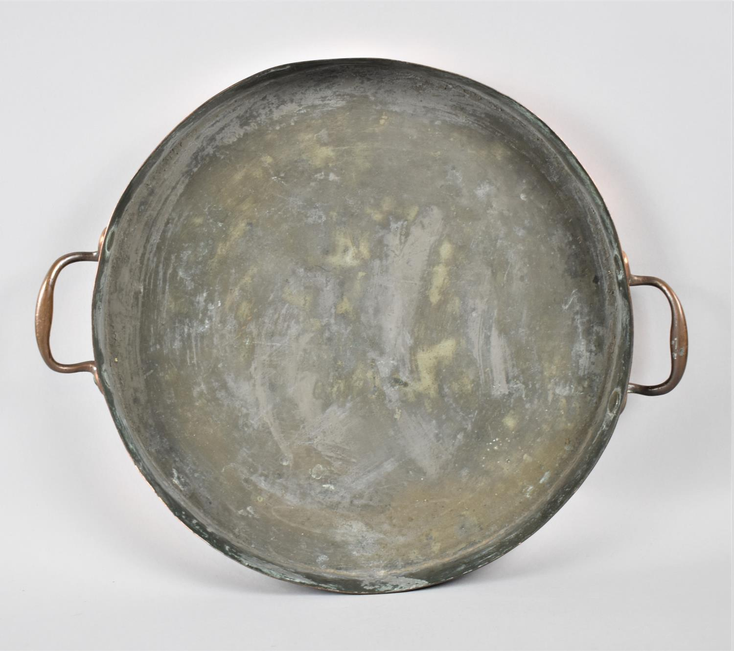 A Victorian Copper Saucepan Lid with Two Handles, 35.5cm Diameter - Image 3 of 3