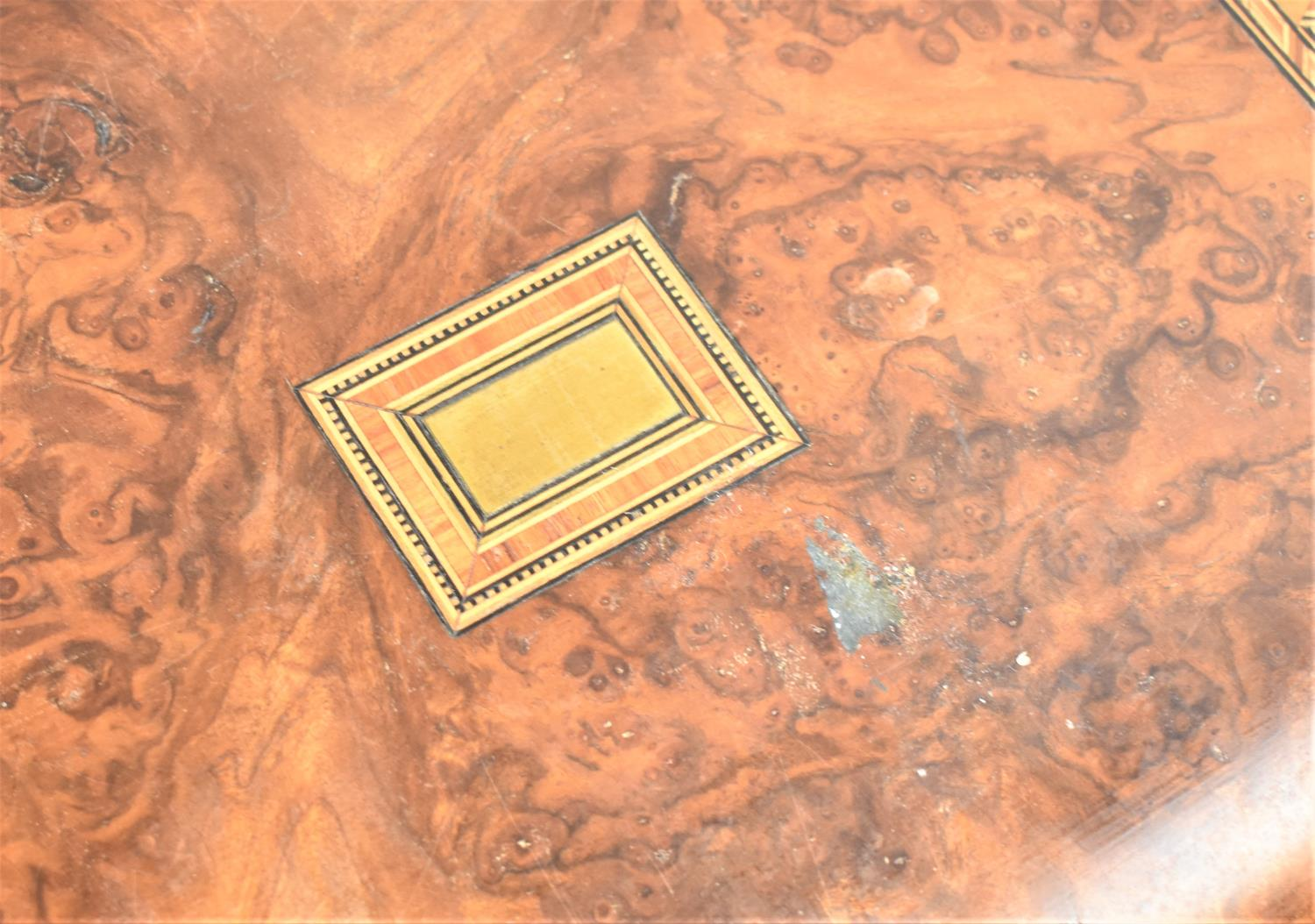 A Late 19th Century Burr Walnut Writing Slope with Tunbridge Style Banding Inlay and Brass - Image 2 of 5