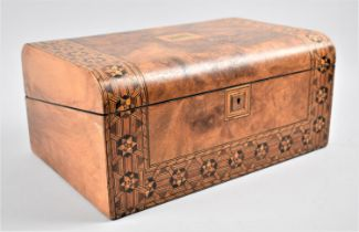 A Late 19th Century Burr Walnut Writing Slope with Tunbridge Style Banding Inlay and Brass